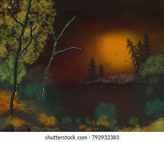 An artistic landscape image of a sunset in the forest.