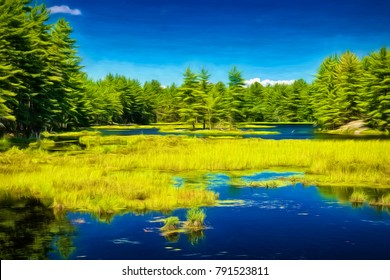 An artistic look at Hardy Lake in the Muskoka Region north of Toronto on a beautiful summer day.