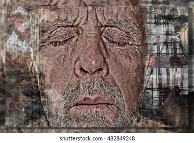 Artistic Meditation Portrait Collage of a Senior Citizen