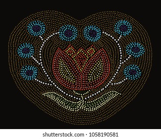 An artistic native american  flower pattern done in dot painting style