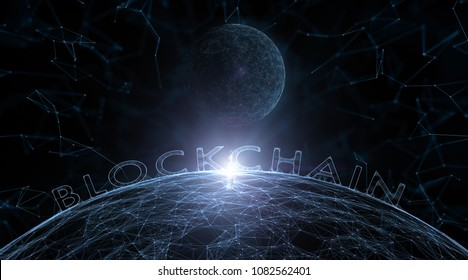 Artistic network sphere with blockchain word illustration background. View from space.