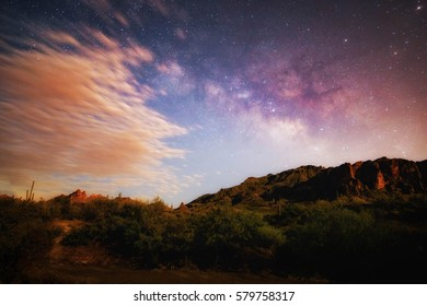 Artistic night sky background/ Milky way background/ Arizona Night landscape background