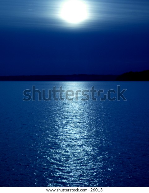 Artistic ocean scene of a sunset, although could be a moonset.