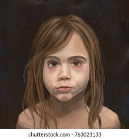 An artistic painting of a four-year-old girl in a melancholy style against a dark background