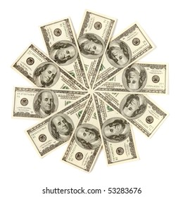 Artistic pattern made from dollar bills Snowflake or star Isolated with a clipping path on white background