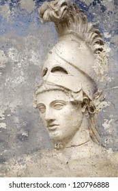 Artistic portrait with textured background, classical Greek sculpture