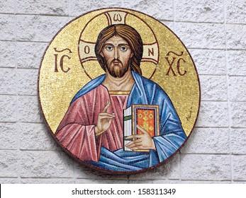 An artistic portrayal of greek orthodox jesus
