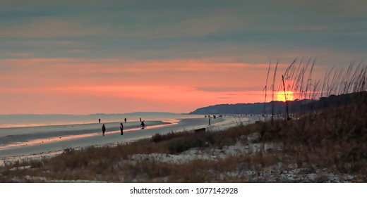 An artistic presentation of dozens of folks strolling South Forest Beach on Hilton Head Island, enjoying another spectacular sunset.