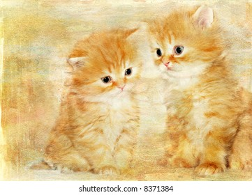 artistic retro background with kittens