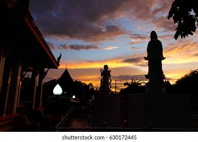 Artistic sculptures at sunset Beautiful in Bangkok,thailand.