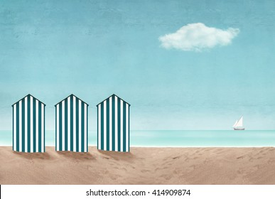Artistic seascape with three dressing cabin beach with sea and sailboat on the background