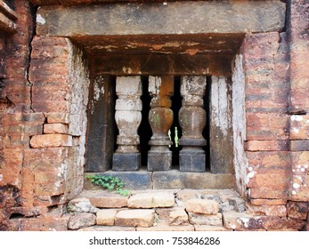 artistic stone graved crafted ornaments around ruins landmark architecture, the MY SON ancient HINDUISM and BUDDHISM religious ritual building, one world cultural heritage place in VIETNAM