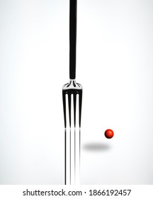 Artistic view of the fork and red dot