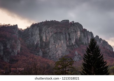 Artistic view of iconic mountain over village Vlasi in Serbia, near Pirot, during twilight - Shutterstock ID 1213318021