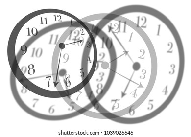 Artistic view round isolated clocks with latin numerals intersect with each other to show time passing and stress in life