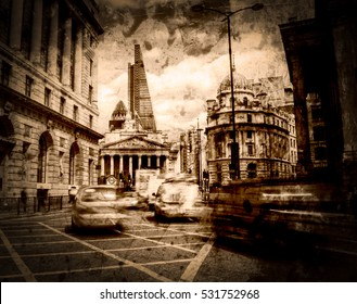 Artistic Vision City of London in Motion Fine Art Black And White Sepia Tone Vignette
