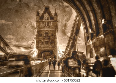 Artistic Vision Of London Tower Bridge in Motion Fine Art Black And White Sepia Tone Vignette