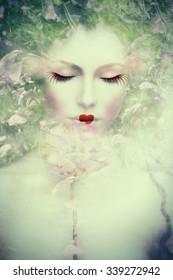 artistic woman portrait, composite photo