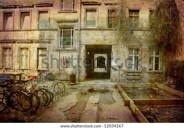 Artistic work of my own in retro style - Postcard from the former GDR. - Backyards - Berlin,  Germany.
