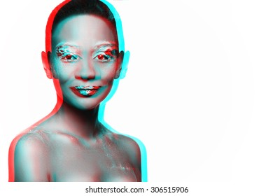 artistically crafted black white isolated photo of a beautiful dark-skinned woman with makeup and bare shoulders