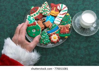 Artistically Decorated Colorfully Iced Cut Out Christmas Cookies