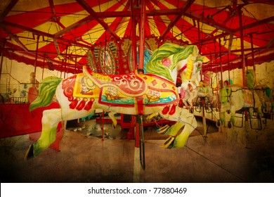 Artistically textured carousel  from Coney Island amusement park