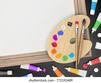 """Artist's Creative Accessories. 3D rendering graphic composition on the subject of """"Cteative Occupations""""."""