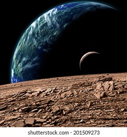 An artist's depiction of  an Earth like planet in deep space with an orbiting moon observed from the surface of a rocky sister moon.