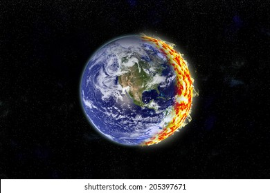 An artist's depiction of the Earth on fire. Some elements courtesy of NASA.