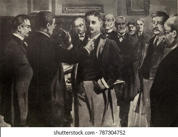 Artists depiction of the swearing in of Vice President Theodore Roosevelt at the Wilcox House in Buffalo on Sept. 14, 1901 at 3:30 PM. The oath was administer by Judge John Hazel. Among the witnesses