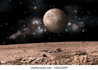 An artist's depiction of  the view from a rocky and barren alien world. A moon rises over the airless environment. Elements of this image furnished by NASA.