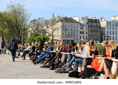 Artists at front of Notre Dame Cathedral, Paris, 10 MAY 2014