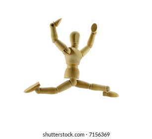 An artist's mannequin leaps through the air on a white background.