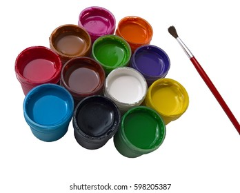 Artist's Necessity Isolated. Open mugs of poster paint and the paintbrush. White background.