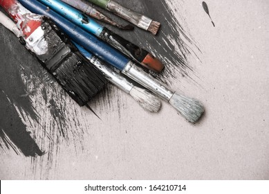 Artist's Old Brushes close-up