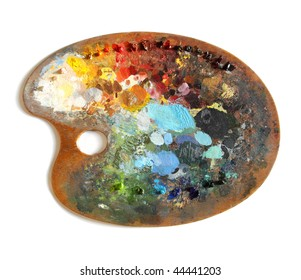 Artist's palette with multiple colors on a white background