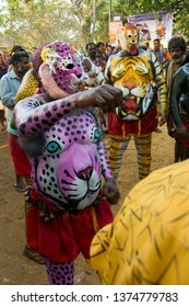 Artists play Percussion Pulikali (Tiger Dance) in the Vilangottu kavu Bhagavathi Temple Festival on March 10, 2019 in Karinganadu, Palakkad District, Kerala, India.