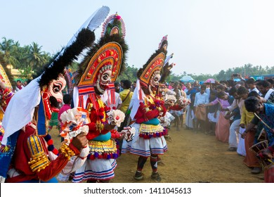 "Artists play ""Poothan"" during ritual at  Sree Kalari Bhagavathi Temple Festival on March 20, 2019 in Vilayur, Palakkad District, Kerala, India."
