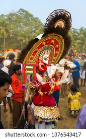 "Artists play ""Poothan"" in the Percussion at  Sree Kalari Bhagavathi Temple Festival on March 20, 2019 in Vilayur, Palakkad District, Kerala, India."