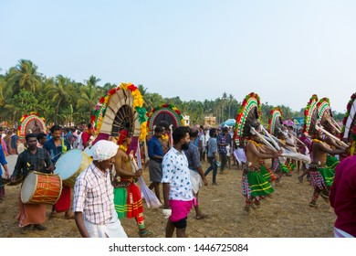"Artists play ""Thira"" during ritual at  Sree Kalari Bhagavathi Temple Festival on March 20, 2019 in Vilayur, Palakkad District, Kerala, India."
