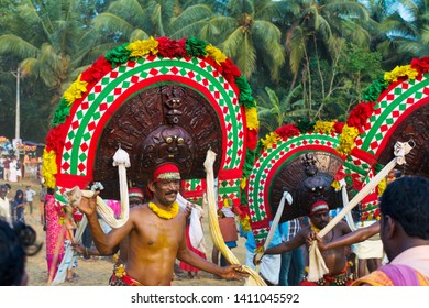 "Artists play ""Thirayaattam"" during ritual at  Sree Kalari Bhagavathi Temple Festival on March 20, 2019 in Vilayur, Palakkad District, Kerala, India."