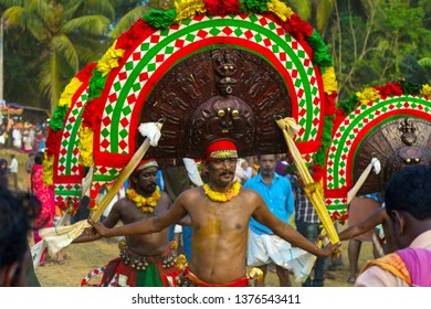 "Artists play ""Thirayaattam"" in the Percussion at  Sree Kalari Bhagavathi Temple Festival on March 20, 2019 in Vilayur, Palakkad District, Kerala, India."