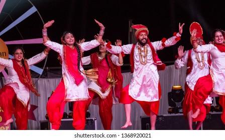 Artists from Punjab Performing Bhangra Dance : Bikaner, Rajasthan/India - Jan 2019