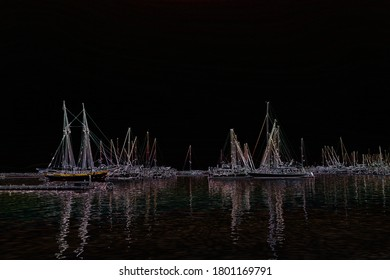 Artists rendering of sailboats floating in the water with reflections.
