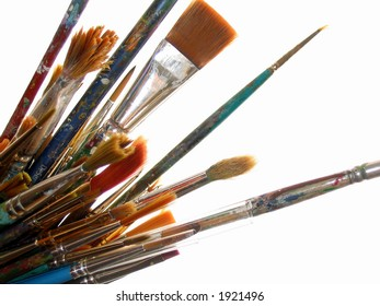 Artist's well used paintbrushes