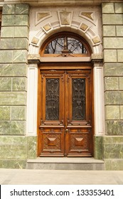 Art-Nouveau door decoration in forged iron in Tbilisi Old town