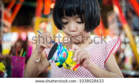 Arts Crafts Asian Kids Cute Girl Stock Photo Edit Now 1038028633