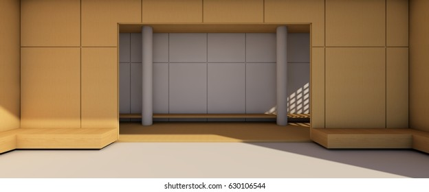 Arts and Gallery exhibition Modern room Contemporary Room and Simple chair creative / 3D render / 3d rendering