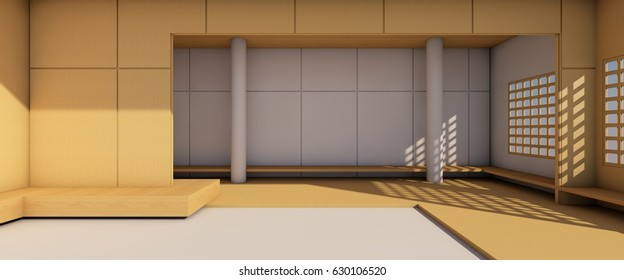 Arts and Gallery exhibition Simple Modern loft on wood backdrop / 3d rendering