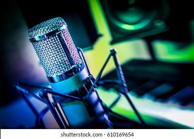 Artsy lensbaby tilt shift of a vintage recording studio vocal microphone.